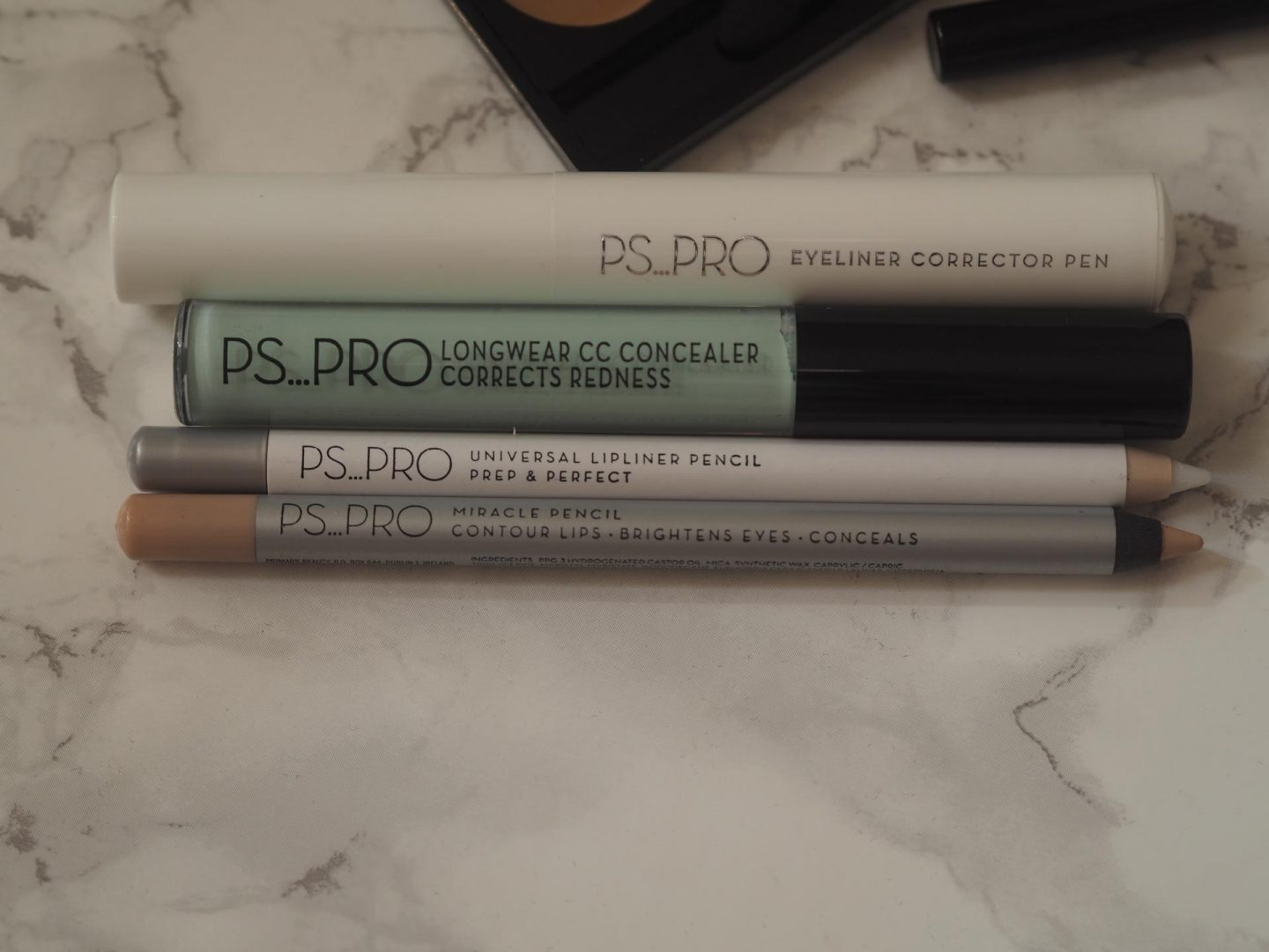 Primark PS Pro - Products: Eyeliner Correction Pen, Longwear CC Concealer Corrects Redness, Universal Liplined Pencil & Miracle Pencil