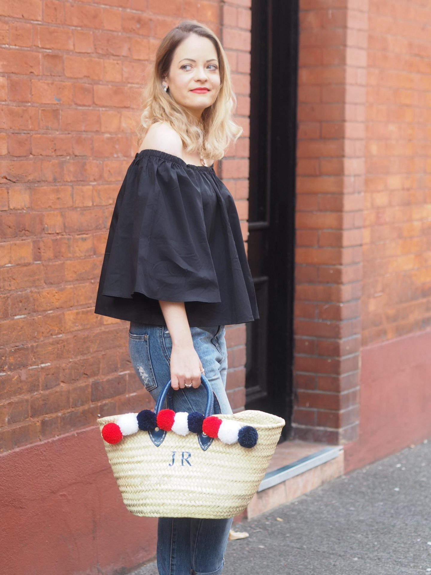 Bardot Top from Set Trendz with Personalised Bag From Rae Feather