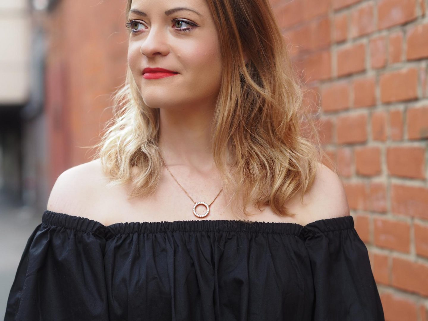 Hearts of Pandora Necklace with off-the-shoulder Bardot top