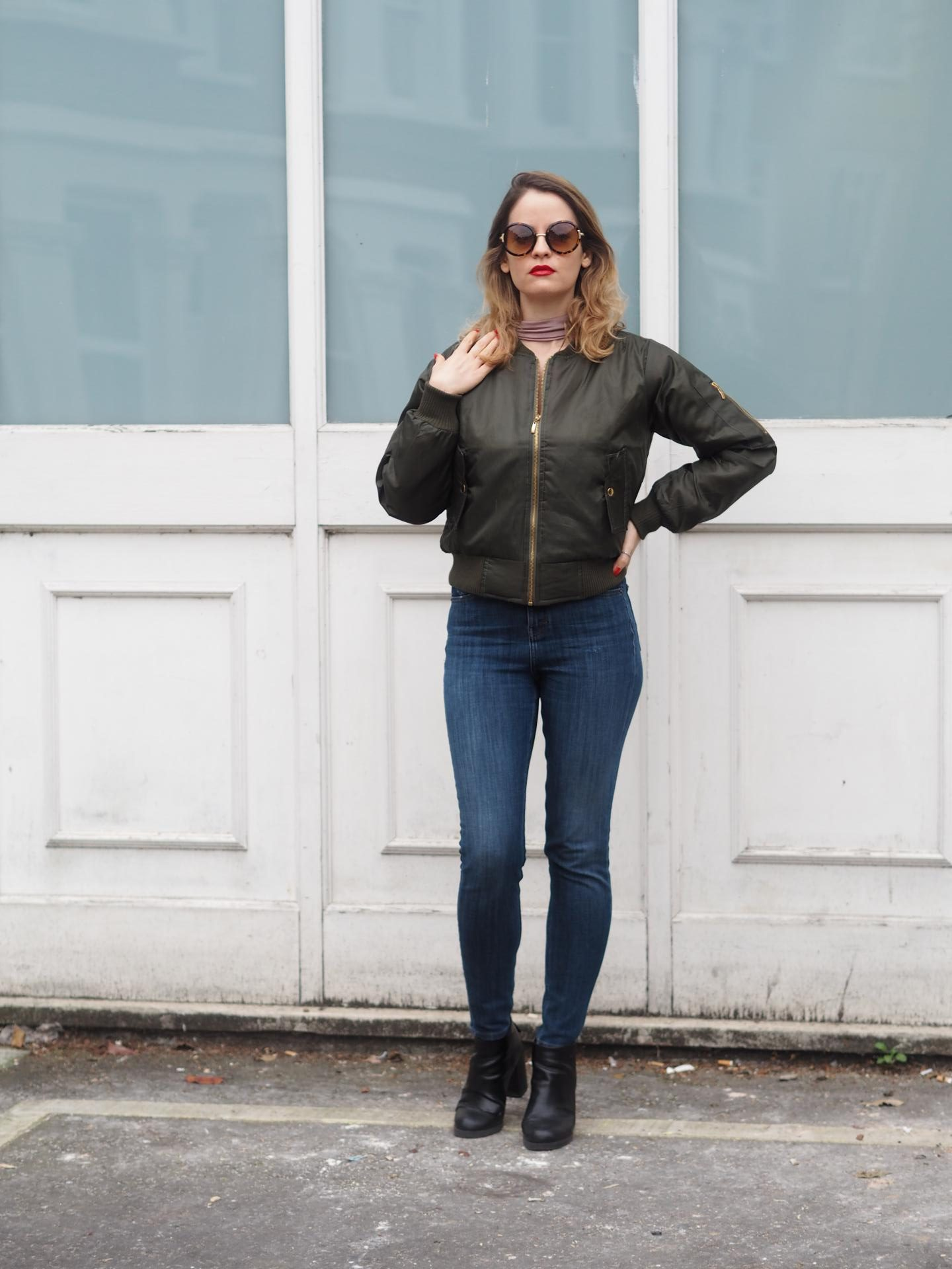 Trendeo Olive Bomber Jacket with Topshop Jeans and Pull and Bear Ankle Boots