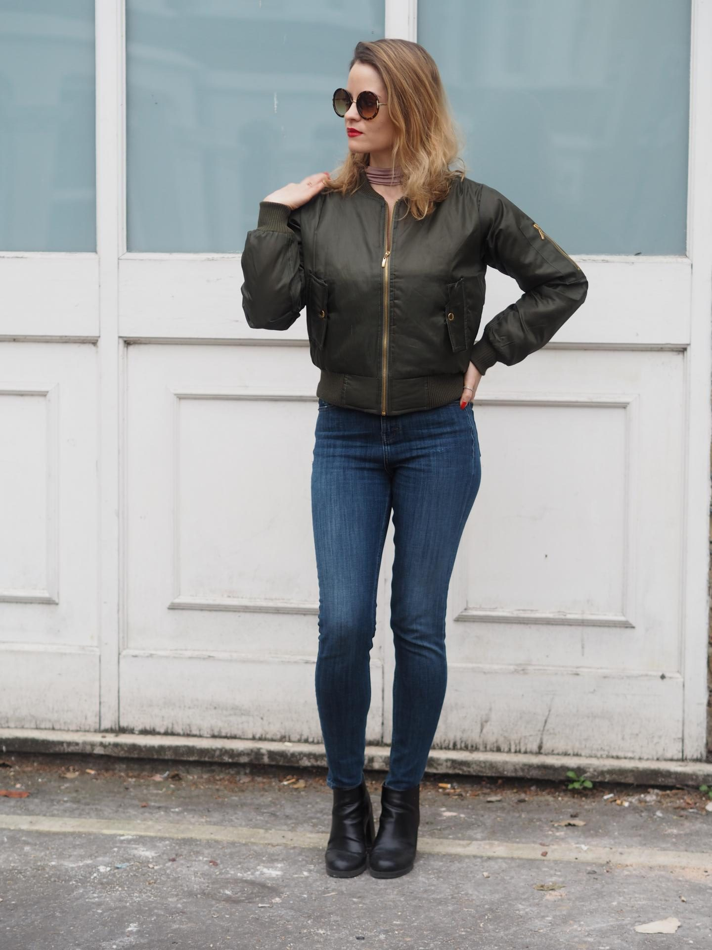 Trendeo Olive Bomber Jacket with Topshop Jeans and Topshop Sunglasses