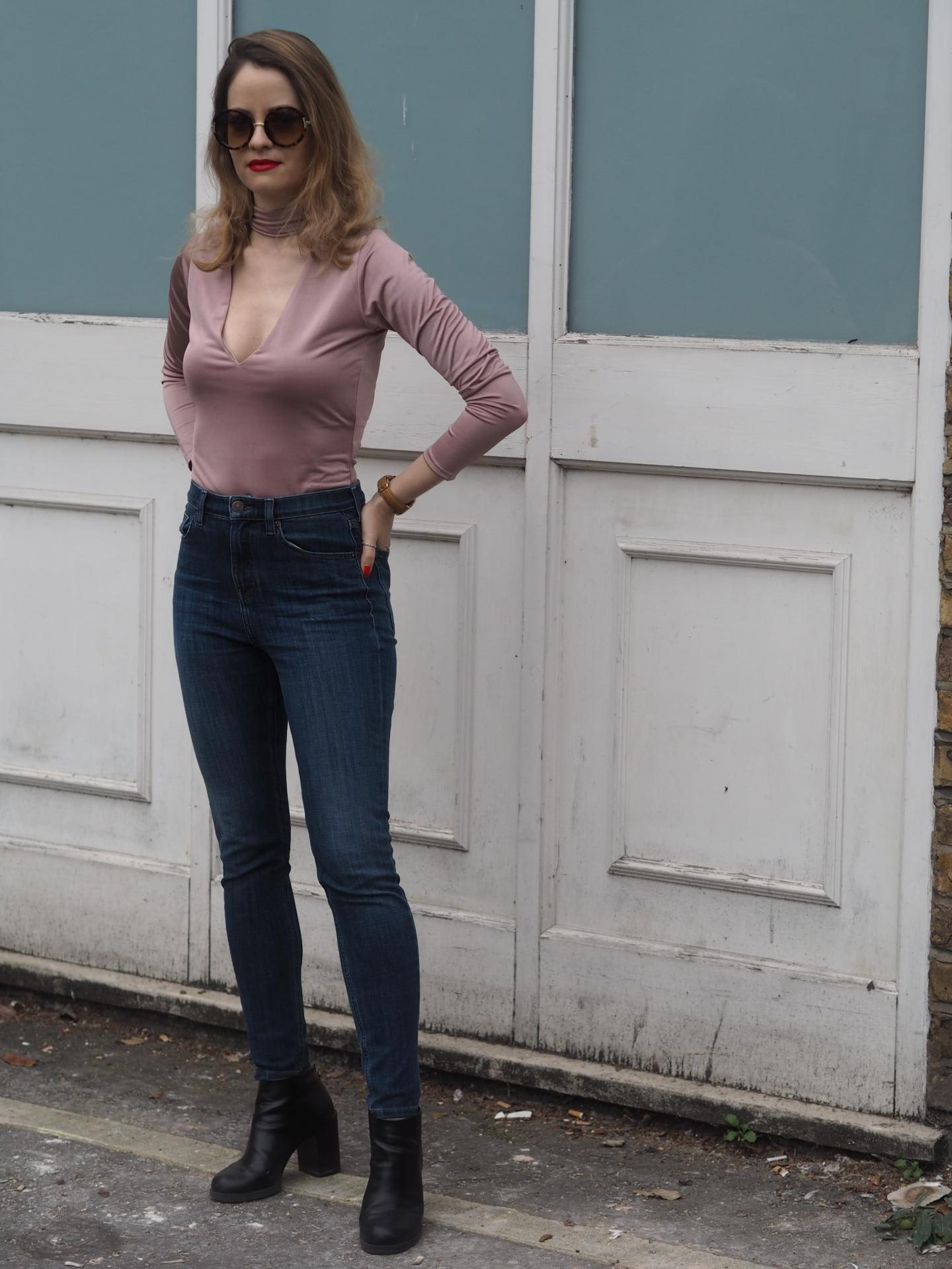 Pink Bodysuit from Trendeo with Topshop Jeans and Pull and Bear ankle boots