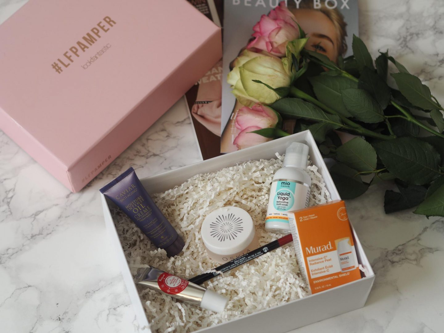 Lookfantastic #LFPamper Box flatlay