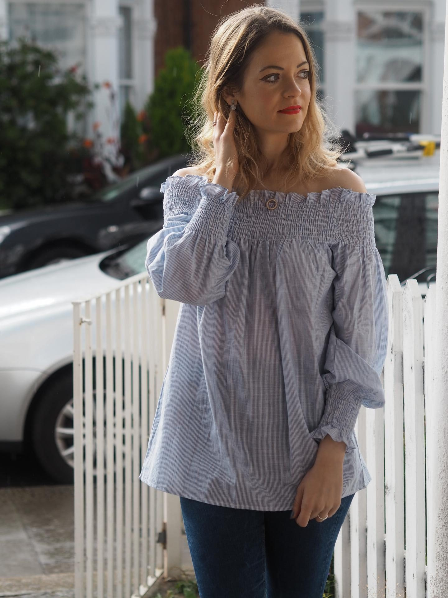 Off the shoulder Bardot top on Jamie Rockers from Beauty Rocks
