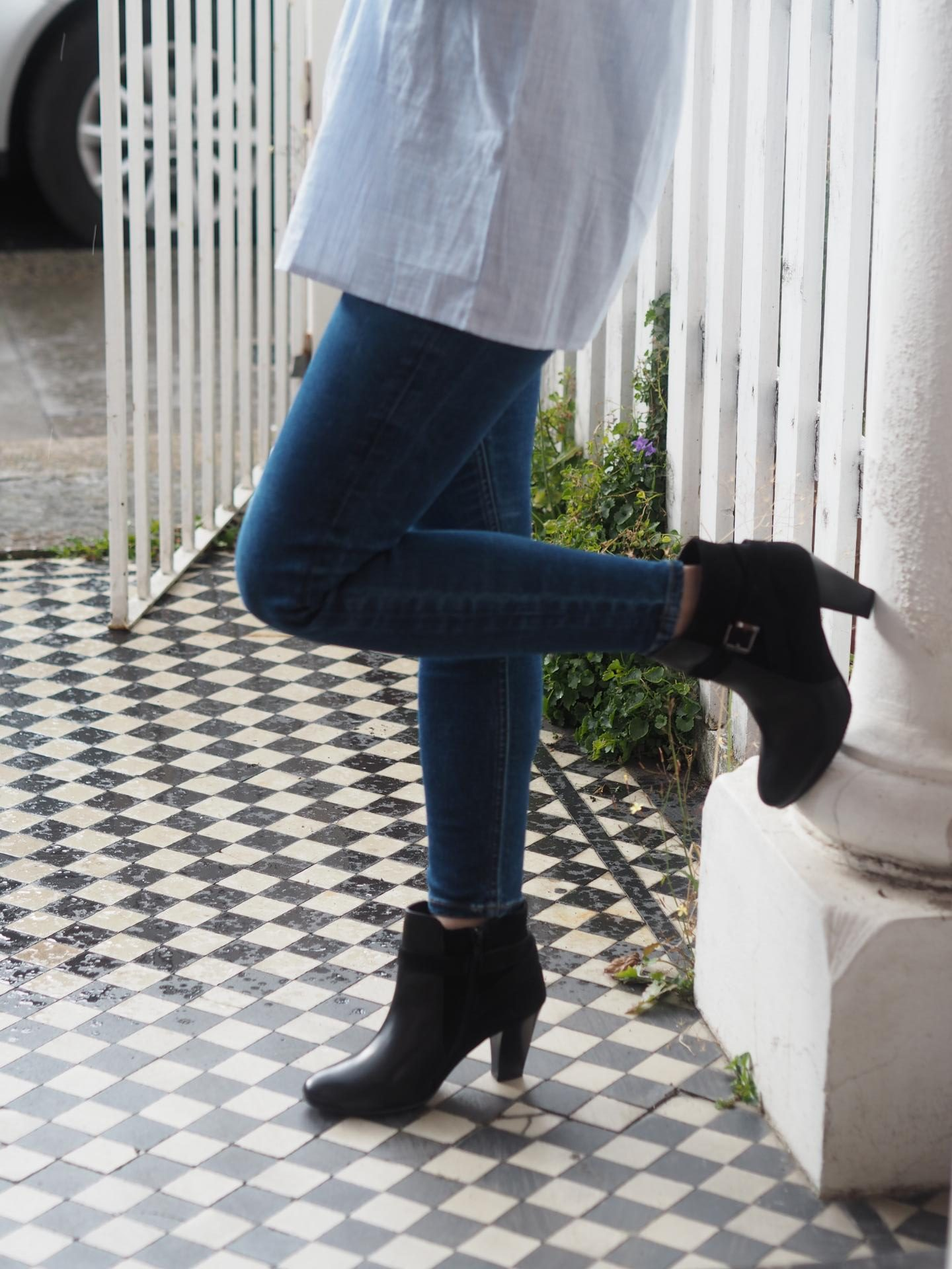 suede ankle boots with Topshop skinny jeans