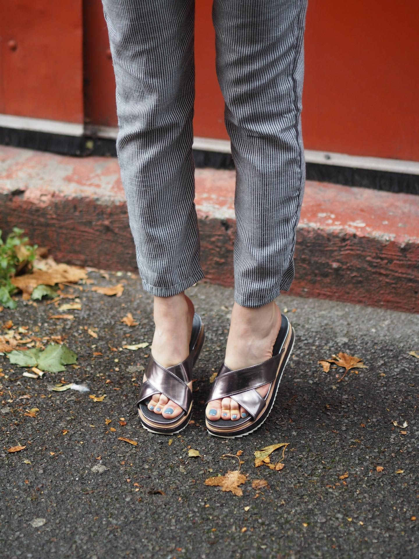 Metallic slides from Boohoo and Pajama Pants from Set Trendz