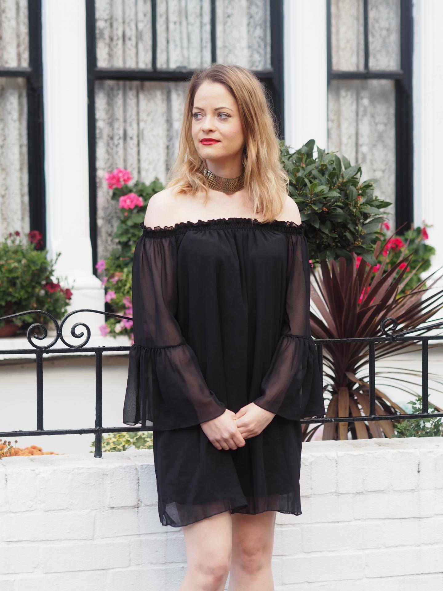 Bell Sleeve Bardot dress from Set Trendz
