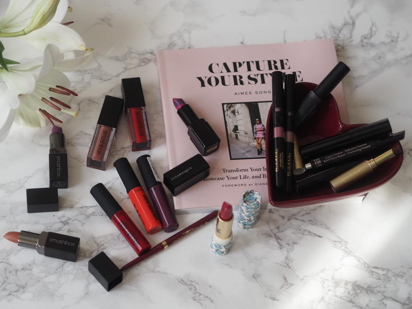 Lipstick flatlay with Capture Your Style Book
