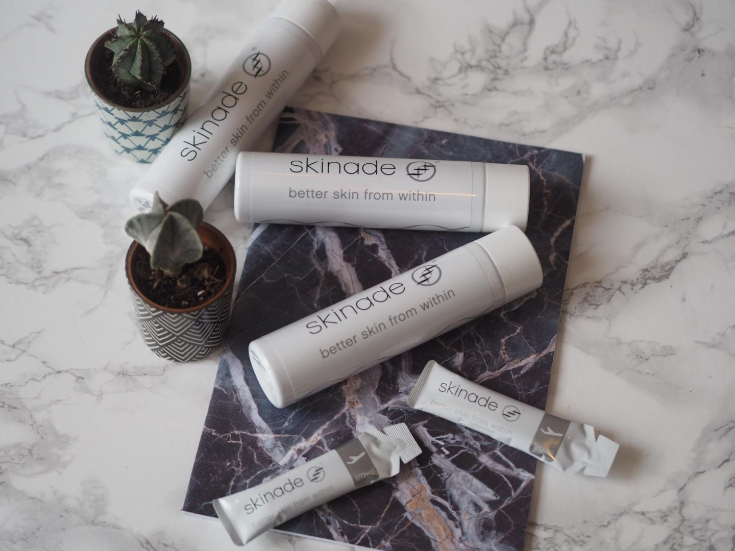 Skinade bottle and Skinade Travel Sachet