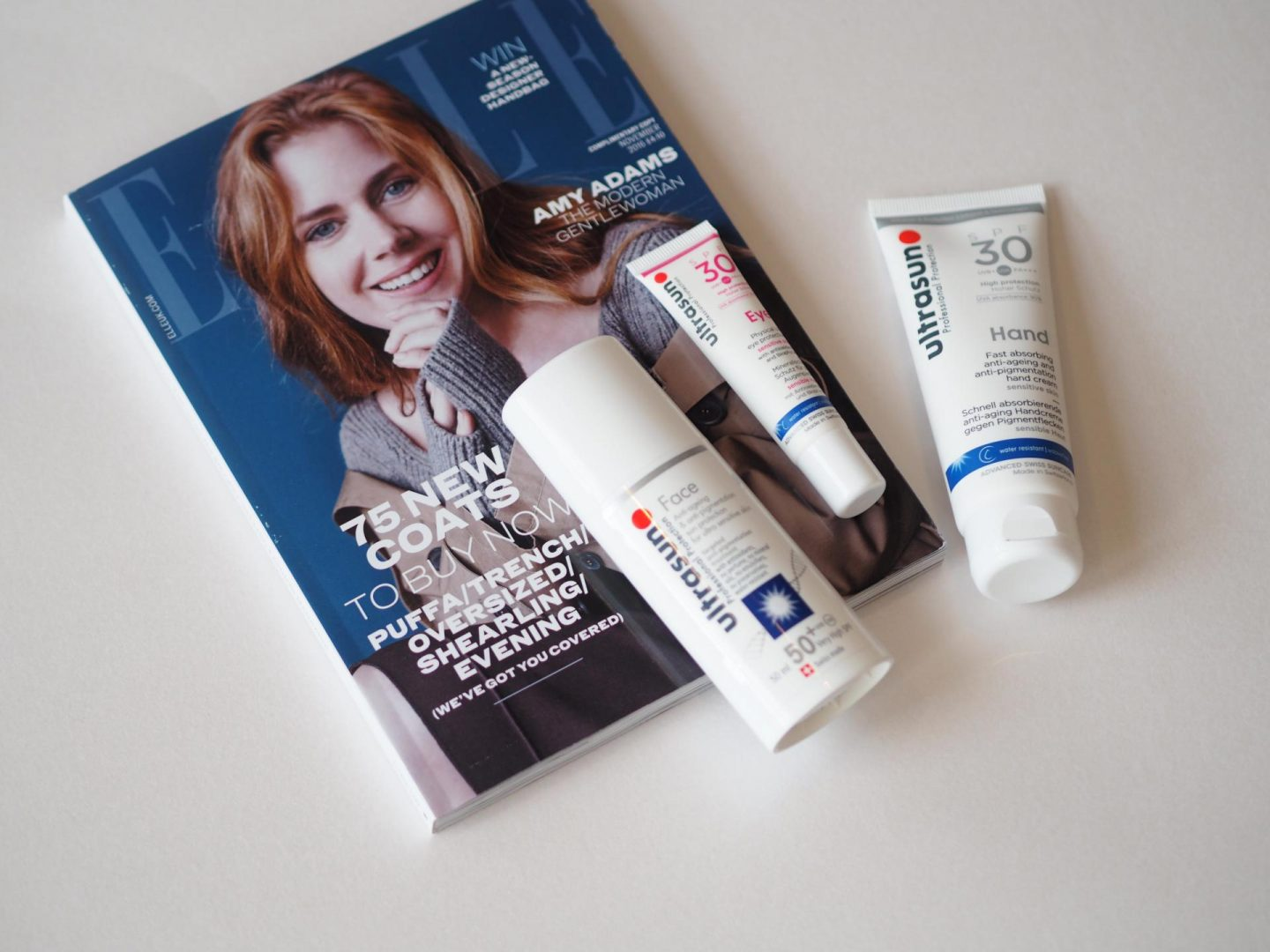 Elle Magazine and Ultrasun Hand Cream with Ultrasun Eye Cream and Face Cream