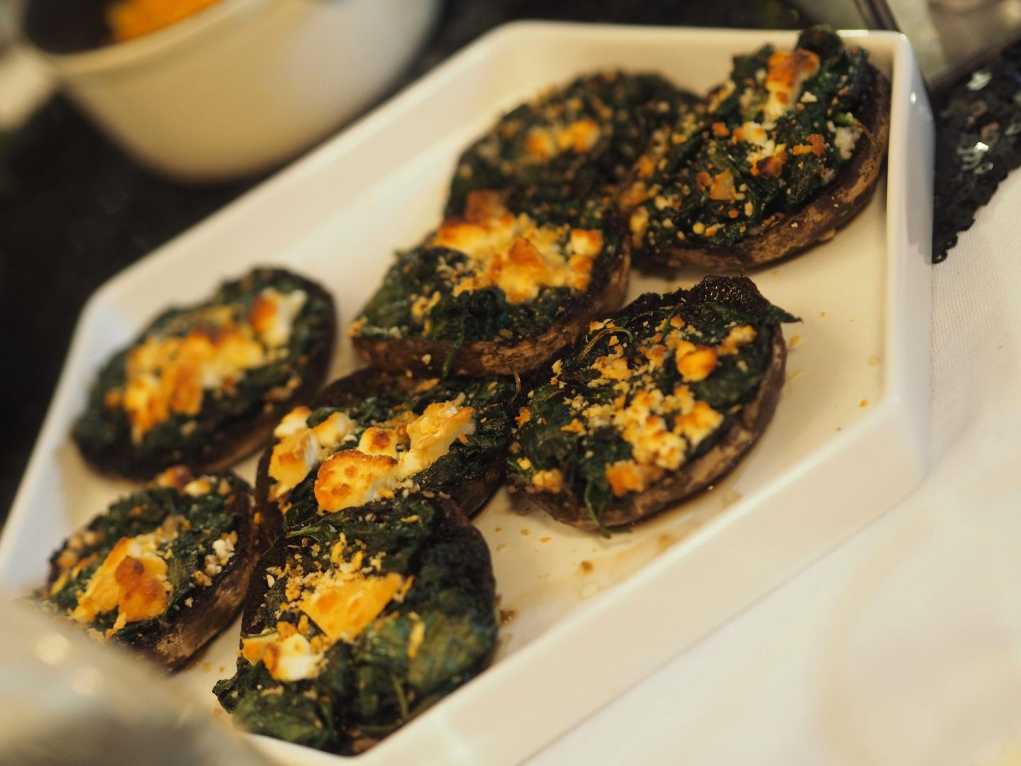 EatFirst Portobello Mushrooms filled with spinach, goats cheese and herbed crumbs