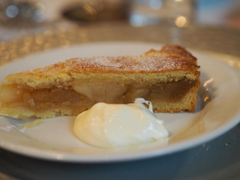 Apple Pie with salted caramel, Cointeau drunken raisins and Ivy House cream