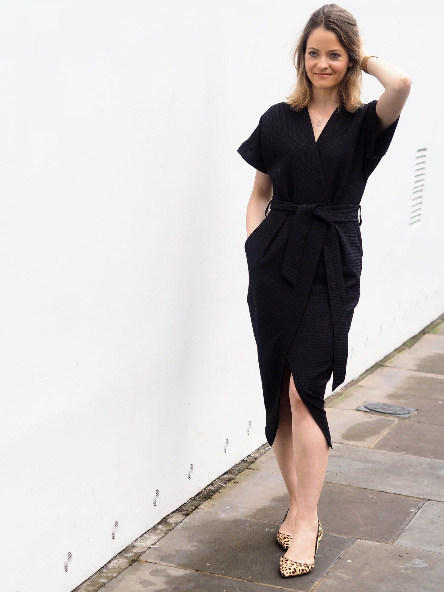 Closet London Black Tie Waist Kimono Wrap Dress