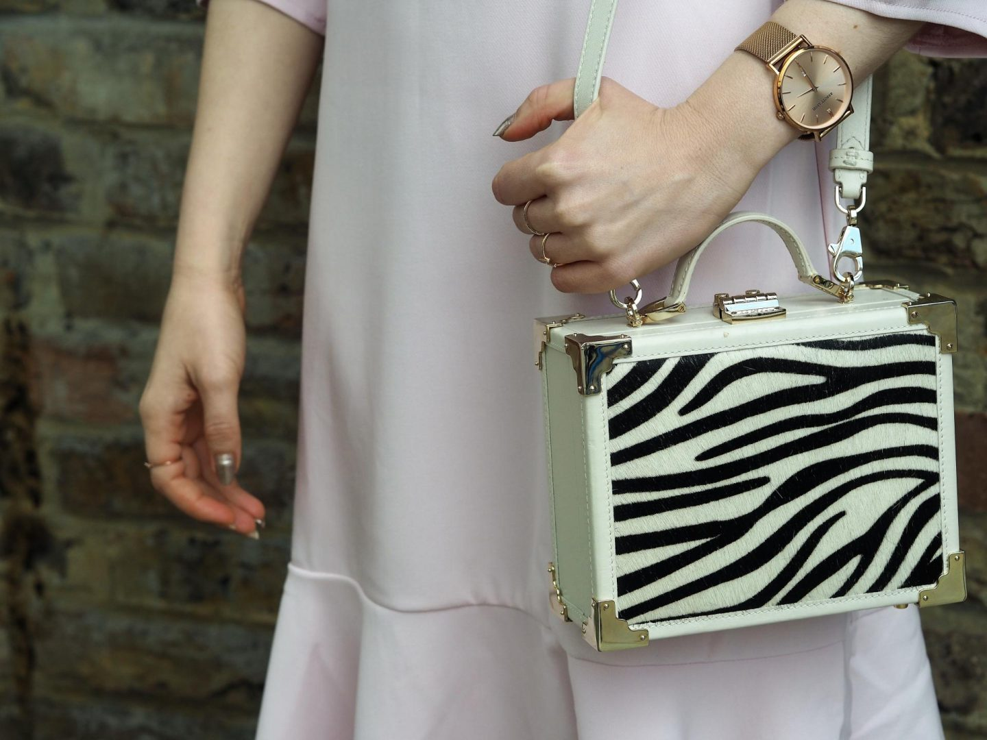 The Mini Trunk Clutch IVORY & ZEBRA HAIRCALF
