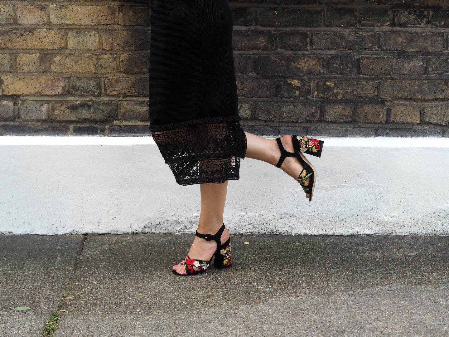Black Tapestry Embroidered Cross Strap Heels from New Look