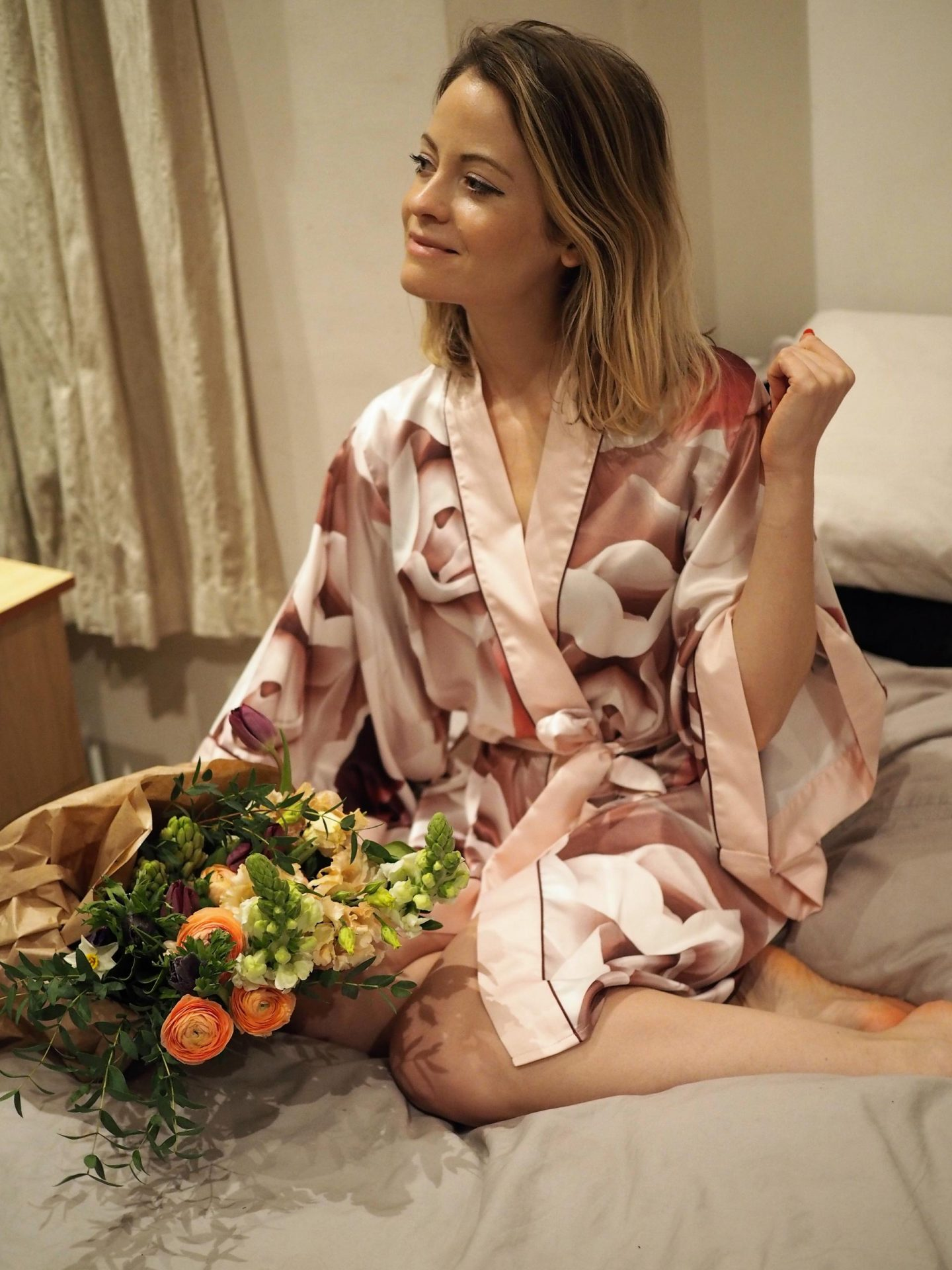 Ted Baker Pink Satin 'Porcelain Rose' Dressing Gown.