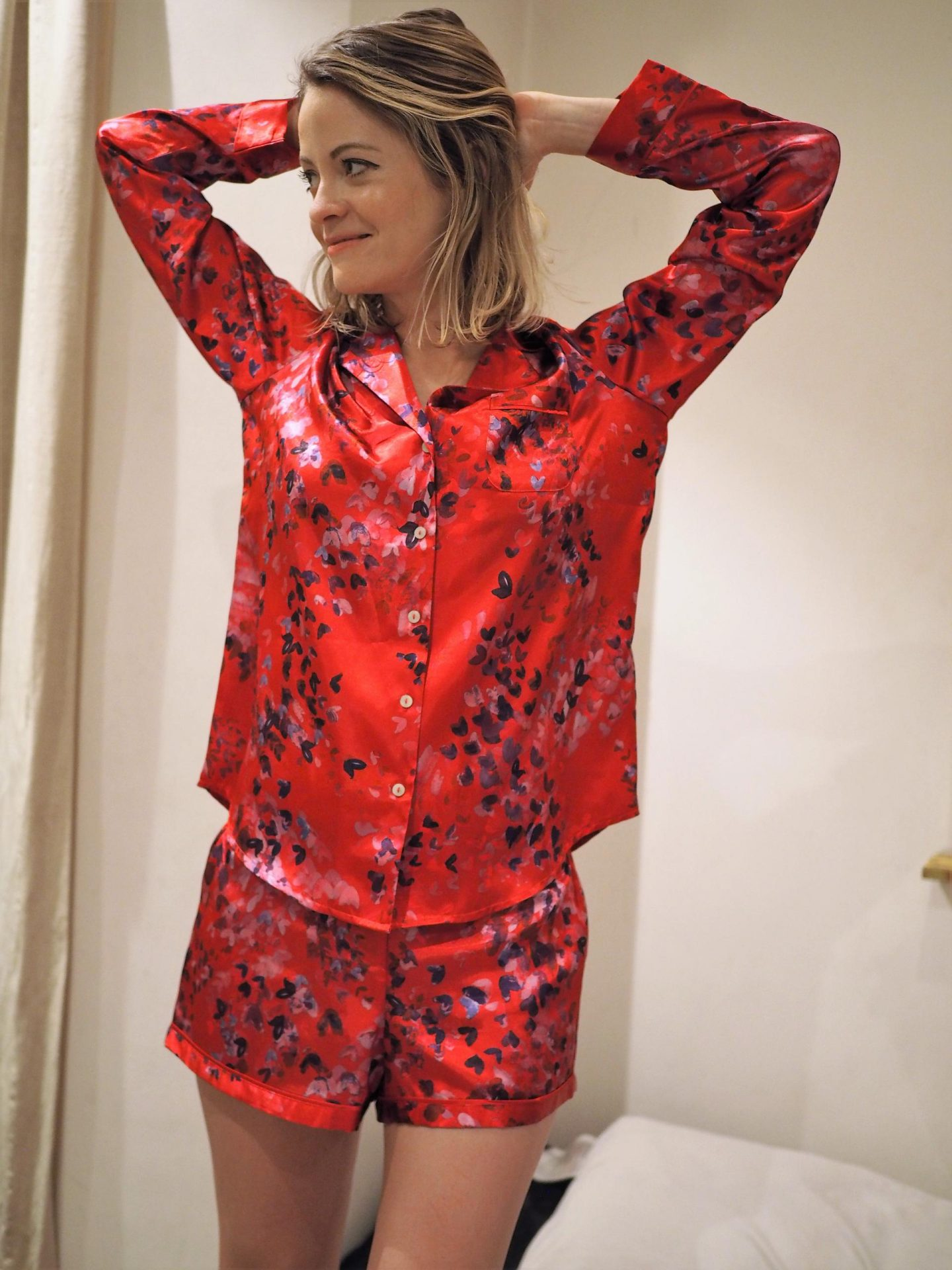 Red Floral Confetti Satin Long Sleeve Pyjama Set from The Collection