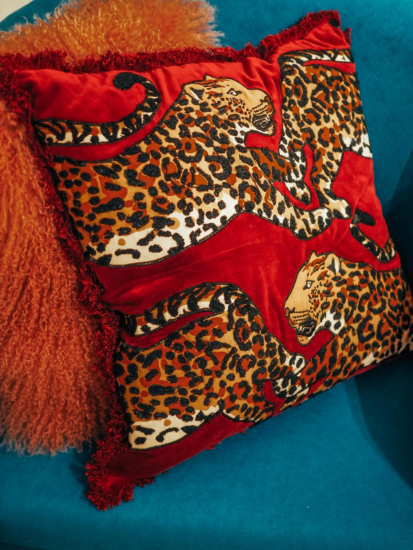 Abigail Ahern/EDITION - Multicoloured Leopard Embroidered Cushion