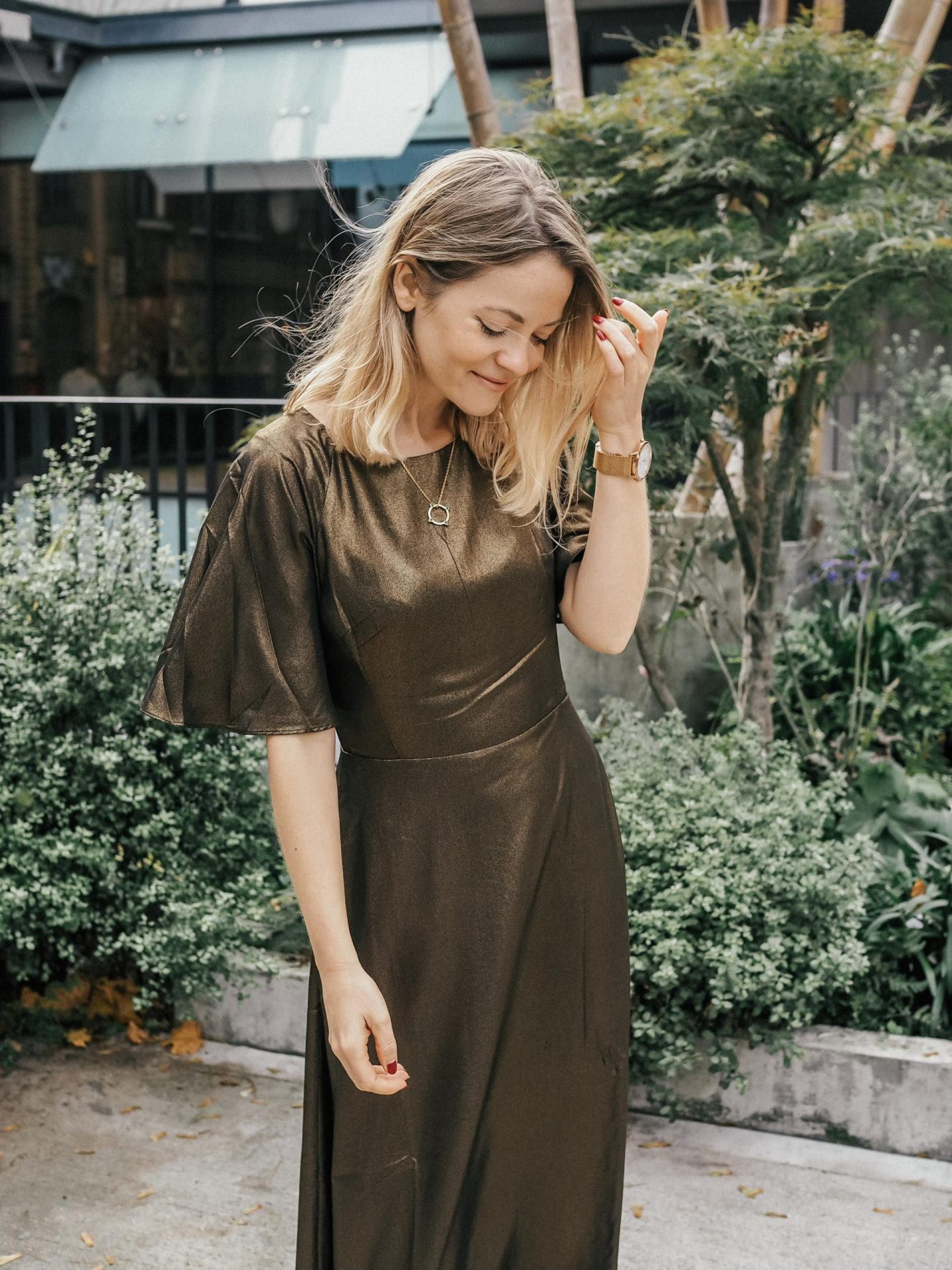 Emily and Fin Suzanna Gold Dust Midi Dress